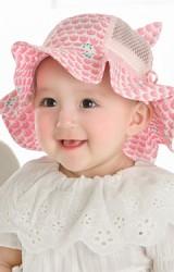 หมวกกันแดดเด็กหญิงลายดอกไม้และแมวเหมียว ผ้าพื้นสลับผ้าตาข่าย  GZMM