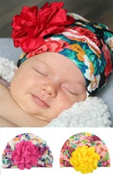 หมวกอินเดียลายดอก แต่งดอกไม้หวาน