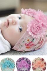 หมวกอินเดียลายดอกแต่งดอกไม้ 3 ดอก