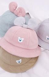 หมวกบักเก็ตลายจุดแต่งโบว์น่ารัก