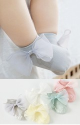 ถุงเท้าสาวน้อยแรกเกิดแต่งโบว์น่ารัก มีกันลื่น