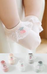 ถุงเท้าเด็กหญิงชายระบายลูกไม้แต่งเชอรี่