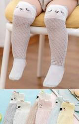 ถุงเท้าเด็กแบบยาว ขอบบนทอหน้าสัตว์แต่งหูน่ารัก