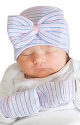 เซ็ตหมวกเด็กหญิงแรกเกิด แต่งโบว์ใหญ่มาพร้อมถุงมือ