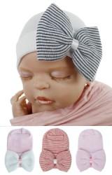 หมวกเด็กหญิงแรกเกิดผ้าหนานุ่ม แต่งโบว์ใหญ่