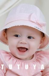 หมวกปีกรอบลายหัวใจแต่งโบว์น่ารัก tutuya