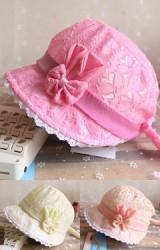 หมวกสาวน้อยผ้าลูกไม้แต่งโบว์กระต่าย