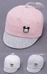 หมวกแก๊ปเด็กเล็กลายทางมิกกี้ แต่งหางยาวน่ารัก