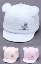 หมวกแก๊ปหมีน้อยลายตาราง love baby