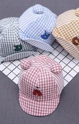 หมวกแก๊ปลายตารางปักอักษร หูกลมน่ารัก