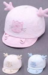 หมวกแก๊ปแมวน้อยลายทางแต่งมือ