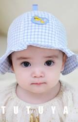 หมวกเป็ดน้อยผ้าลายตาราง tutuya