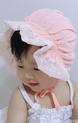 หมวกผูกคางเด็กหญิงผ้าฝ้ายชายระบายสวย