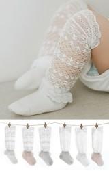 ถุงเท้าเด็กหญิงลูกไม้แบบยาว ระบายช่วงข้อเท้า