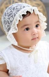 หมวกผูกคางเด็กเล็กผ้าลูกไม้