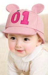 หมวกเด็ก 2 ทรง ด้านหน้าหมวกแก๊ปแต่งหูหมีปัก 01 ด้านหลังบักเก็ตปักหน้ายิ้ม  GZMM