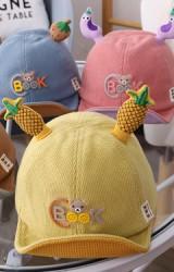 หมวกแก๊ปผักและผลไม้ ด้านหน้าแต่งหมี  ผ้าลูกฟูก