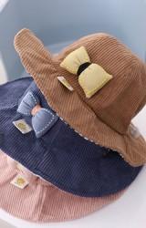 หมวกกันแดดสาวน้อยด้านหน้าแต่งโบว์นูน ผ้าลูกฟูก