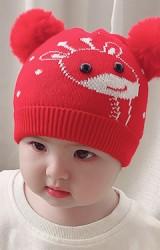 หมวกยีราฟน่ารักด้านบนแต่งปอมปอมขนมิ้ง