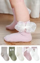 ถุงเท้าเด็กหญิงแพ็ค 5 คู่  สีเอิร์ธโทน แบบข้อสั้น