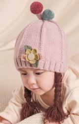 หมวกเปียแต่งดอกไม้ หมวกสาวน้อยไหมพรมนุ่ม