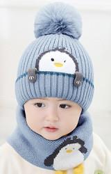 เซ็ตหมวกไหมพรมเพนกวินมาพร้อมสวมคอ