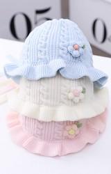 หมวกผูกคางไหมพรมลายสวยแต่งดอกไม้น่ารัก