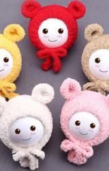 หมวกกันหนาวแต่งหูหมีกลมน่ารัก แบบผูกคาง ไหมพรมฟูนุ่ม