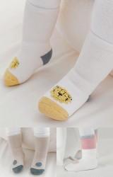 ถุงเท้าเด็กแพ็ค 3 คู่ แบบหนาลายน่ารัก ไม่มีกันลื่น