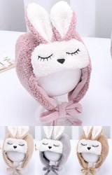 หมวกกระต่ายหูตั้งขนฟู หมวกกันหนาวแบบผูกคาง