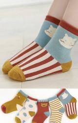 ถุงเท้าเด็กแพ็ค 5 คู่ โทนสีเหลืองมัสตาร์ด แดงเรื่อและฟ้าอมเขียว