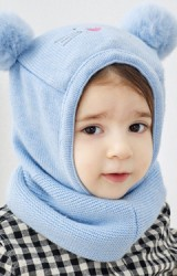 หมวกแมวน้อยแต่งปอมปอม หมวกโม่งเด็กใส่กันหนาว