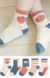 ถุงเท้าเด็กแพ็ค 5 คู่ โทนสีเบจ ส้มอิฐและฟ้าคราม