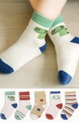 ถุงเท้าเด็กแพ็ค 5 คู่ ลายน่ารัก โทนสีเบจ แดงเรื่อ และเขียว