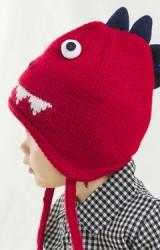 หมวกไหมพรมไดโนเสาร์แบบผูกคาง