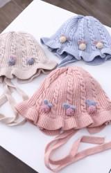หมวกผูกคางไหมพรมลายสวยแต่งปอมปอมโบว์น่ารัก