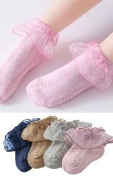 ถุงเท้าเด็กหญิงขอบระบายผ้าโปร่งลายจุด