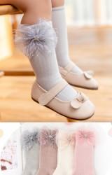 ถุงเท้าเด็กหญิงแต่งโบว์ลายดาว แบบยาว ไม่มีกันลื่น