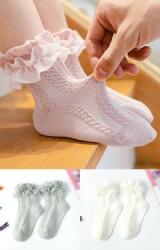 ถุงเท้าเด็กหญิงขอบระบาย แบบข้อสั้น ไม่มีกันลื่น