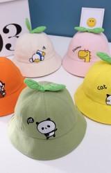 หมวกบักเก็ตผลไม้ ปักรูปสัตว์น้อยน่ารัก