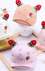 หมวกแก๊ปสตรอว์เบอรี่ หมวกเด็กหญิงน่ารัก