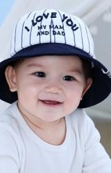 หมวกกันแดดเด็ก ปัก I LOVE YOU  MY MAM AND DAD