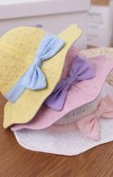 หมวกเด็กหญิงผ้าฉลุลายดอก ขอบหมวกแต่งโบว์สวย