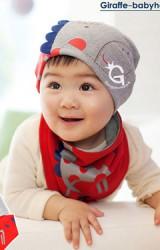 ชุดเซ็ตหมวกเด็กและผ้ากันเปื้อนรูปยีราฟ ดีไซน์น่ารัก