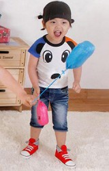 เสื้อยืดเด็กคอกลมแขนสั้น สีขาว ผ้า Cotton ตัดต่อแขนเสื้อ 2 สี