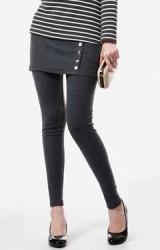 กางเกงเลคกิ้งคลุมท้องแบบกางเกงกระโปรง แต่งกระดุมด้านหน้า