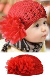 หมวกถักแต่งดอกไม้ใหญ่ ใส่แล้วน่ารัก