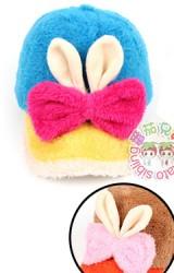 หมวกแก๊ปหูกระต่ายผูกโบว์ผ้ากำมะหยี่สีสันสดใส