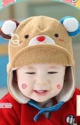 หมวกหมีแต่งหูน่ารัก ปีกด้านหน้าจะพับขึ้นหรือดึงลงก็เท่