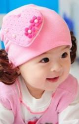 หมวกปอยผมแต่งรูปหัวใจสีชมพูใหญ่